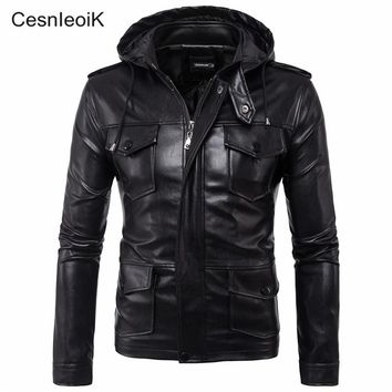 2017 Men New Autumn Fashion Brand-Clothing Mens Hooded Leather Jacket Male Casual Punk Swag Motorcycle Fitness Coats M-5XL X720