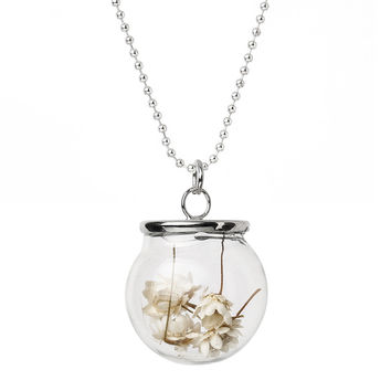 """8SEASONS Glass Bottle Necklace Ball Chain Silver Tone White Dried Flower Pendant Chinese Painting Transparent 59.5cm(23 3 8"""")"""