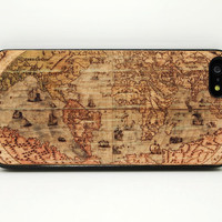 Anqiue World Map ancient Map  IPhone 4s case iphone 4 4s 5c 5  5s case cover skin hard back cases Unique Gfit Wooden color print hard case