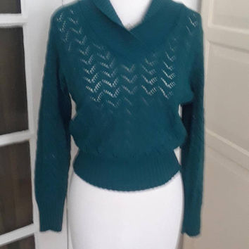 "1950s Sweater, Pullover, Pine Green, Shawl Collar, Open Knit, Size M, 40"" B"