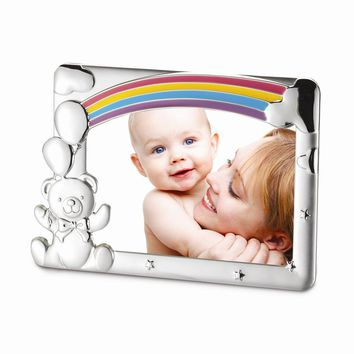 Silver-plated Baby Rainbow & Bear Photo Frame