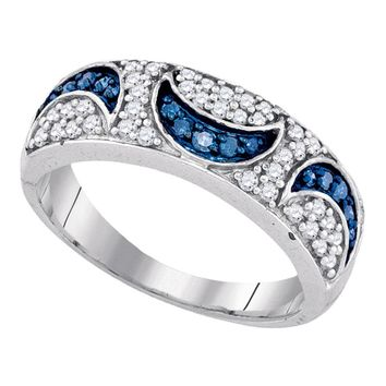 10kt White Gold Womens Round Blue Color Enhanced Diamond Moon Band Ring 1/2 Cttw