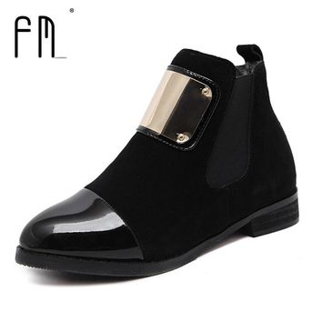 Women Boots Genuine Leather Flat Martin Ankle Boots Slip-on Women's Leather Shoes Autu