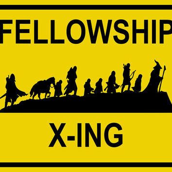 Fellowship X-ing Sign Poster - LOTR Poster - LOTR Print - Lord of the Rings - The Hobbit - Hobbit Poster - Framed Poster - Canvas Print
