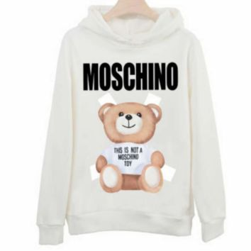 Moschino autumn and winter style tide brand lovers print bear cub hood long sleeve pullover sweater White