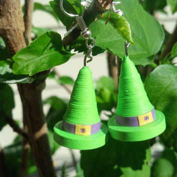 Halloween Witch Hats Earrings, Eco-Friendly Paper Quilled Jewelry - quilling jewelry, paper earrings, quilling earrings, Halloween earrings