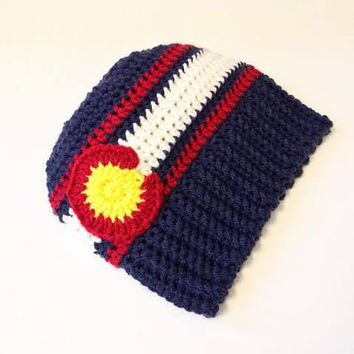 Colorado Messy Bun Hat - Crochet Colorado Messy Bun beanie - Colorado state flag Messy Bun Hat - Ponytail hat  - Gift for Birthday