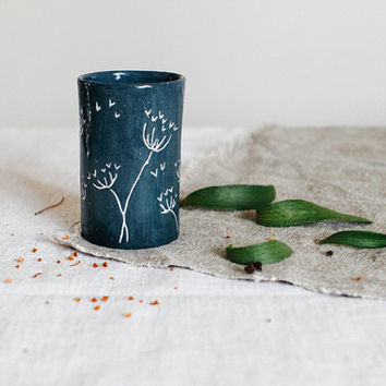 blue ceramic cup, cozy cup, blue cup, teacup, ceramic cup, minimalist mug, mug without handles, housewarming gift, ceramics and pottery