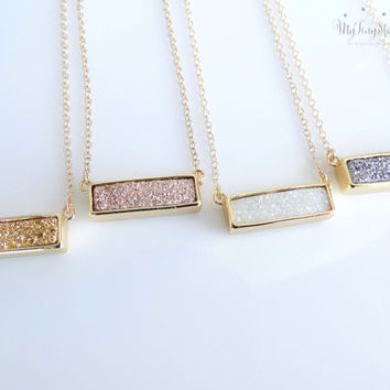 Druzy Bar Necklace Druzy Necklace Gold Druzy Bar Necklace Druzy Layering Necklace Natural Druzy Bar Necklace Rose Gold Druzy Bar Necklace