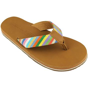 Men's Parsons Stripe Needle Point Flip Flops in Tan Leather by Smathers & Branson