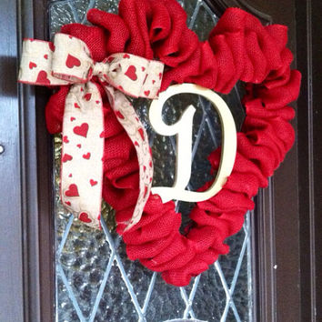 Valentines Wreath, Valentines Present, Valentines Decoration, Burlap Heart Wreath, Heart Decoration, Wedding Present