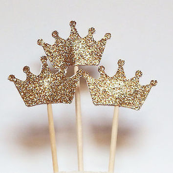 Set of 24 Gold Glitter Crown Cupcake Toppers Wedding Picks Party BABY SHOWER HU