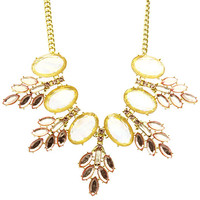 NECKLACE / OVAL CUT HOMAICA STONE / BIB / MARQUISE LEAF PATTERN / GLASS STONE / LINK /16 INCH LONG / 2 1/2 INCH DROP / NICKEL AND LEAD COMPLIANT