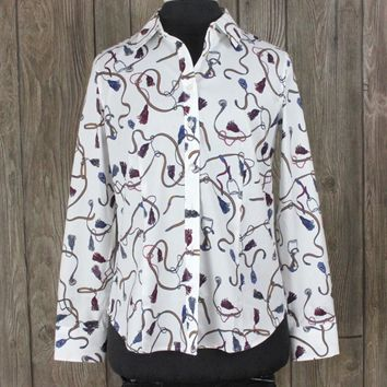New Talbots Blouse 4 S size White Blue Brown Equestrian Pattern