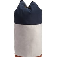 Colorblocked Drawstring Canvas Backpack Navy/Grey One