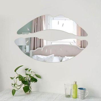 3D DIY Sexy Lips Silver Mirror Wall Sticker Sofa Background Decals Window Glass Wallpaper Home Living Room Decor Mural Poster