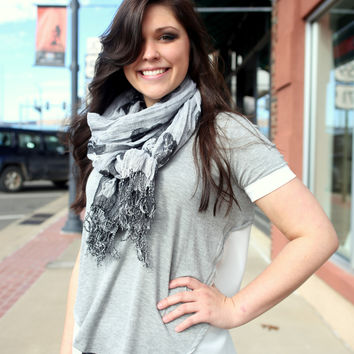 Brooklyn Night Top {Grey/White}