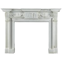 Very Fine Late Georgian Antique Fireplace Mantel Carved in Statuary Marble