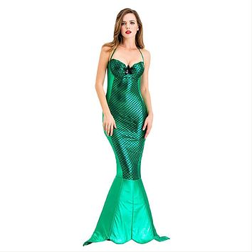Women Mermaid Costume Halloween Cosplay Mermaid Dress Romantic Beauty Sea Maid Sexy Dress Fancy Dress