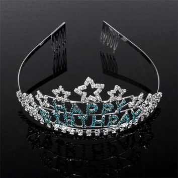 VONE7HQ Happy Birthday  Rhinestone Princess Tiara