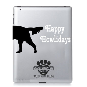 Happy Holidays (Howlidays) dog decal - Christmas dog sticker - Fun dog text, perfect to add to any of our dog face decals - TEXT OPTIONS