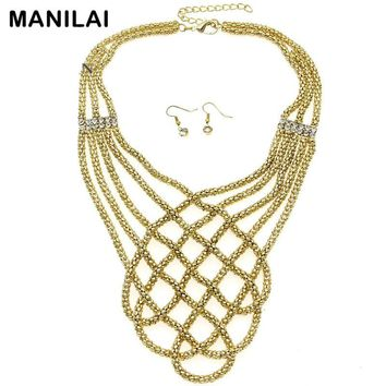 Indian Accessories Popcorn Chain Weaving Choker Statement Necklaces Matching Rhinestones Earring Set Fashion Jewelry Sets