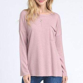 Long Sleeve Pocket Tee- Mauve
