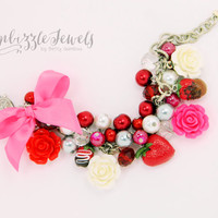 Valentines day chocolate strawberry pink red charm bracelet