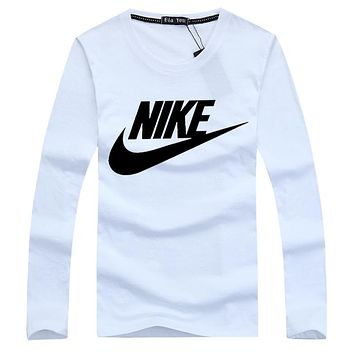 NIKE Popular Women Men Casual Letter Print Long Sleeve Round Collar Sweater Pullover Top Sweatshirt White