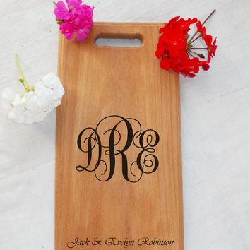 Monogrammed Personalized Board, Wood cutting board, Housewarming Board, Custom engraved, kitchen board, handmade Chopping Board wood burning