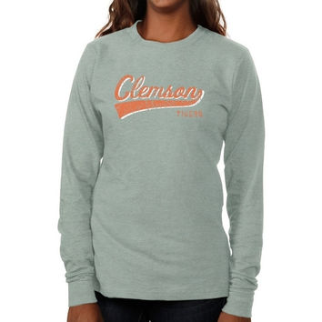 Clemson Tigers Ladies All-American Primary Long Sleeve Slim Fit T-Shirt - Ash