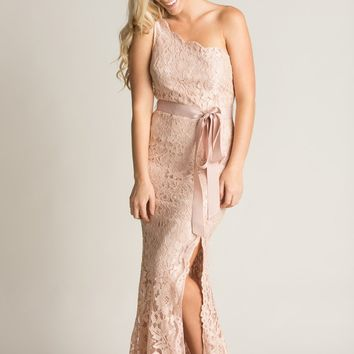 Heather Pink Lace Scallop Maxi Dress
