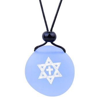 Amulet Frosted Sea Glass Stone Star of David and Cross Good Luck Powers Sky Blue Adjustable Necklace