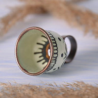 Seal handmade ring copper enameled jewelry stylish designer's women's present