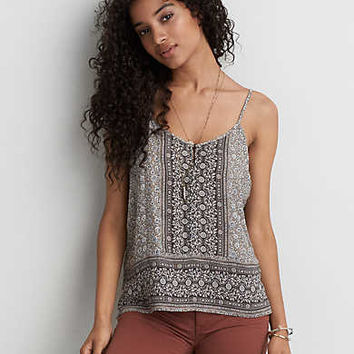 AEO Button Front Keyhole Cami , Olive