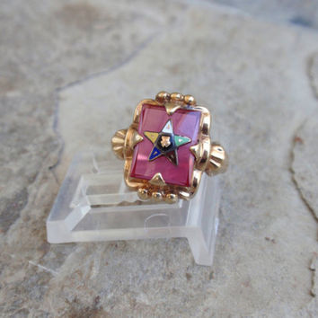 Art Deco Ruby Eastern Star Ring 10k Ladies Mason yellow gold unique vintage Ostby Barton square pink