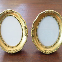 Miniature Picture Frame Pair Gold Frame