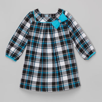 La Fleur & Le Papillon Blue & Black Plaid Bow Dress - Infant & Toddler | zulily
