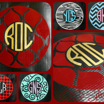 "35+ Colors To Choose from - 12"" Custom Circle Monogram Car Decal - Trellis Outer Circle - Personalized Sticker"