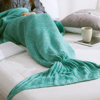 Comfortable Handmade Knitted Mermaid Tail Blanket Christmas Gift