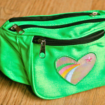 Neon green retro style 70s fashion heart rainbow patch festival bum bag fanny pack