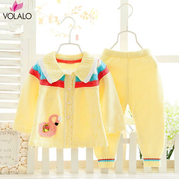 2PCS New Baby Set Striped Cardigan Suits Knitted Boys Sweater Autumn Winter Boys Suits Boys Cloth Set Baby Clothing