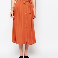 New Look Button Through Midi Skirt at asos.com