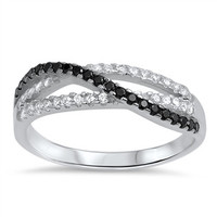 925 Sterling Silver Simulated Black Diamond Infinity Patterned Ring 5MM