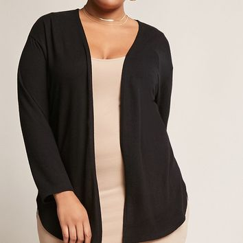 Plus Size Dolphin-Hem Fleece Cardigan