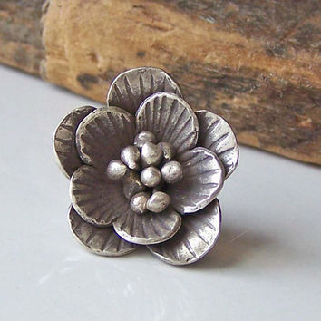 Sterling Silver Karen Hill Tribe Flower Bead, Sterling Silver Bead, Metal Bead, Metal Flower, Silver Flower, Hill Tribe Bead, Destashed Bead