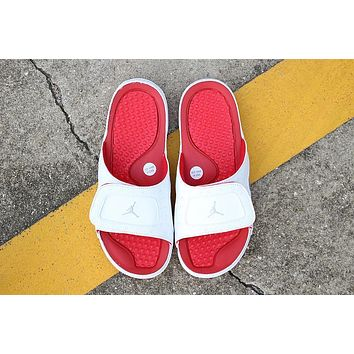Nike Air Jordan 13 White Red Men Women Slipper Sandals