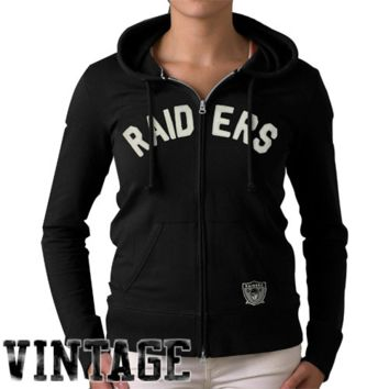 47 Brand Oakland Raiders Womens Pep Rally Full-Zip Hoodie - Black