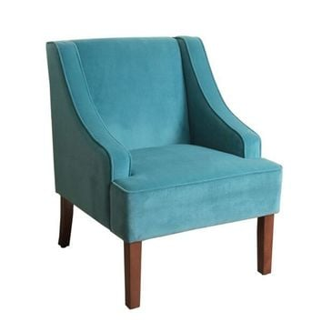 HomePop Swoop Arm Accent Chair in Teal (Turquoise) Velvet | Overstock.com Shopping - The Best Deals on Living Room Chairs