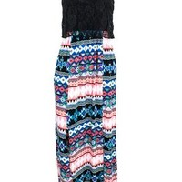 CROCHET OVERLAY BODICE MAXI DRESS